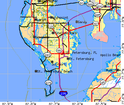 florida map tampa st petersburg